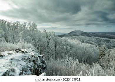 The Papuk peak from the Ivacka glava peak in winter
