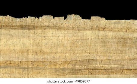 papyrus paper rough texture with fiber pattern, wrinkles, loose fibers and dust, edge shown against black background