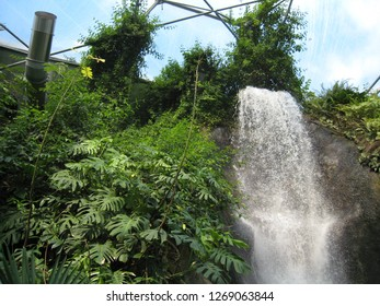 Par, Cornwall / United Kingdom - April 8 2009 : A waterfall and tropical plants in the Rainforest Biome, world's largest indoor rainforest, at the Eden Project botanical garden