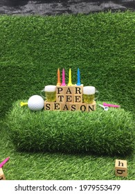Par tee season with golf ball beer and tee are on green grass - Shutterstock ID 1979553479