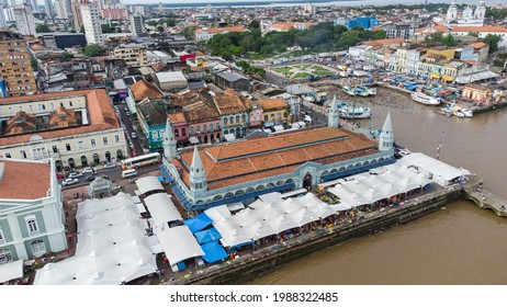 """Belém, Para, Brazil circa May 2021: Aerial view of the famous """"Ver-o-Peso"""" Market and the Fish Market in Belém, Para, Brazil."""