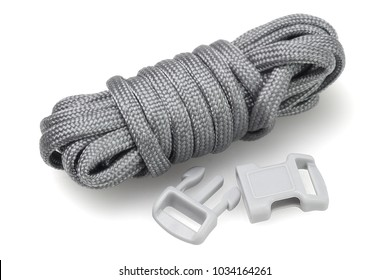 Para Cord Survival Bracelet Kit on White Background