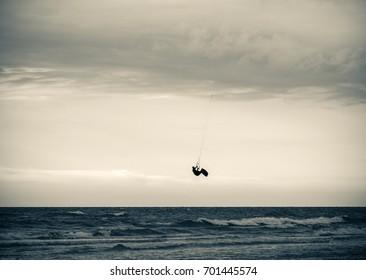 Para gliders at sunset at Baltic Sea in Poland
