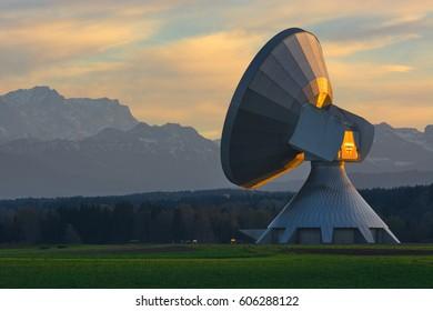 "A parabolic satellite antenna earth station Raisting (""Erdfunkstelle Raisting""), Germany"