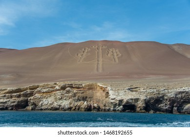 The Paracas Candelabra, also called the Candelabra of the Andes, on the Ballestas Islands (Peru)