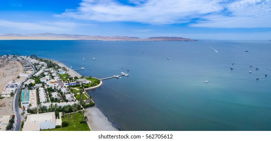PARACAS, ICA, PERU: panoramic view of the Paracas bay from air.