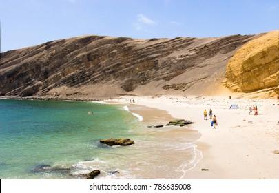 PARACAS, ICA, PERU: View of La Mina beach, in the reserve.