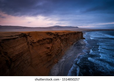 Paracas Natural reserve, paracas la cathedral cliff in Peru. really stormy look