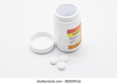 Paracetamol on white background