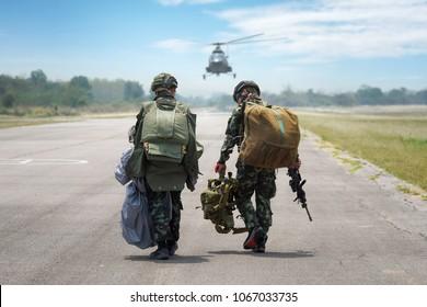 Parachute Attack Airborne , Thai Army paratroopers , Parachute soldier wears historical Thai paratrooper uniform