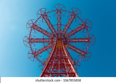 The Parachute Jump attraction at Coney Island theme parks in New York City. Perspective view from the ground.