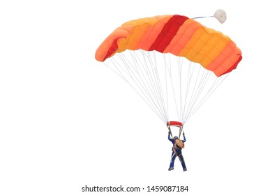 Parachute orange color isolated on white background. This has clipping path.
