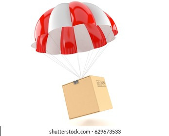 Parachute with package isolated on white background. 3d illustration