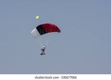 Parachuting, blue sky