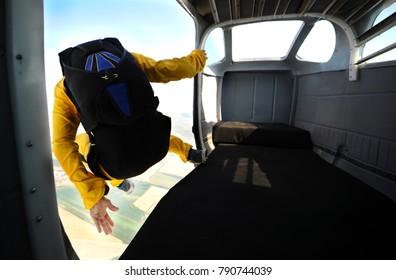 Parachuting on sunny day