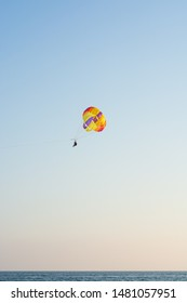 Parachutist against the background of downtown, Antalya stock photo