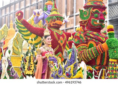 Parade of beautiful flower in Chiangmai flower festival 2016, 6 February 2016, 8 am, Chiangmai, Thailand