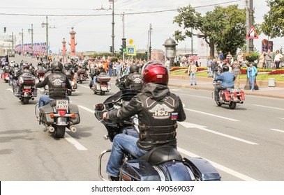 The parade of bikers in town. St. Petersburg, Russia - 13 August, 2016. The annual parade of Harley Davidson in the squares and streets of St. Petersburg.