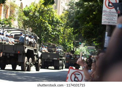 Parade of Brazilian independence from Belo Horizonte From the state of Minas Gerais, Brazil .Photos containing Brazilian armed forces with prominence for war veterans (wolrd of war II).September 7, 18