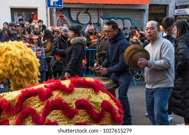Parade of celebration of the Chinese New Year, year of the dog. Madrid, February 18, 2018. Spain. Music in the parade