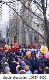 Parade of Chinese new year 2018, the year of dog, in Paris, France, Europ. They performed some chinese cultures, like Barongsai or Lion Dance or Dragon dance. Watched by European people.