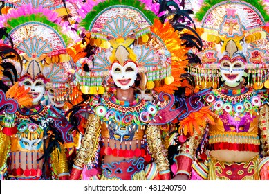 Parade of colorful smiling mask at Masskara Festival, Bacolod City, Philippines