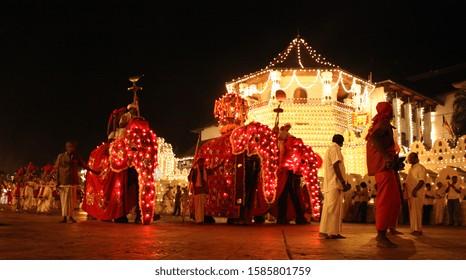 Parade with elephants at Esala Perahera Festival in Kandy, Sri Lanka