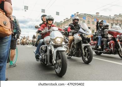 Parade of Harley Davidson on the Green Bridge Nevsky Prospekt. St. Petersburg, Russia - 13 August, 2016. The annual parade of Harley Davidson in the squares and streets of St. Petersburg.