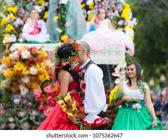 """Parade of Madeira Flower Festival or """"Festa da flor"""" in Funchal city, Madeira Island, Portugal, April 2018."""