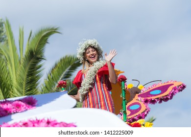 "Parade of Madeira Flower Festival or ""Festa da flor"" in Funchal city, Madeira Island, Portugal, May 2019"