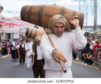 """Parade of Madeira Wine Festival or """"Festa do Vinho Madeira"""" in Estreito de Camara de Lobos, Madeira Island, Portugal, September 2018."""