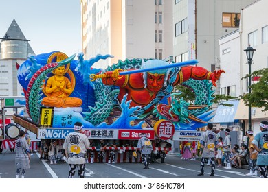 Parade of the Nebuta float and the crew in Aomori Nebuta Matsuri, Japanese summer festival at Aomori city, Japan on August 5, 2015.