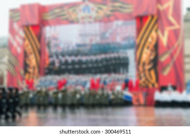 Parade on Red Square in Moscow blur background with bokeh effect