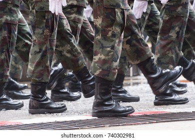 Parade of the Thai military to show power.