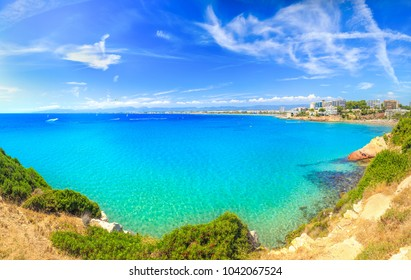Paradis sea bay under clear blue sky. Tropical seascape. Tropical resort background.