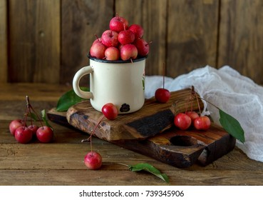 paradise apples, Chinese apples, chinese from the grandmother's garden in the rustic style, iron mug
