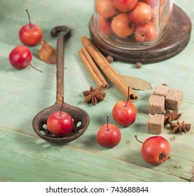 paradise apples on the wooden table