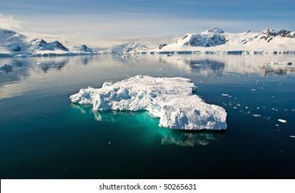 Paradise Bay with floating iceberg, Antarctica