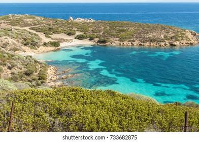 Paradise beach of Asinara Island, Sardinia, Italy. Mediterranean Sea