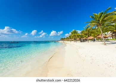 Paradise beach at caribbean coast of Mexico - Quintana Roo, Cancun - Riviera Maya