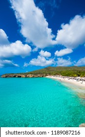 Paradise beach Grote Knip on tropical caribbean island, Curacao, Netherlands. Copy space for text. Vertical