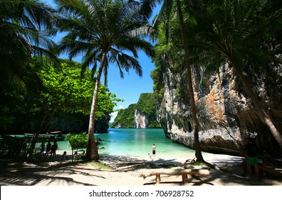Paradise Beach has a beach, coconut trees and cliffs. Have a complete nature Perfect. It's a tropical island named Hong island. Hong island located in Phi Phi Islands National Park Krabi, Thailand