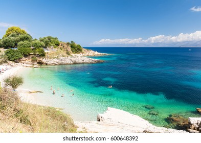paradise beach in Kassiopi in Corfu island, Greece