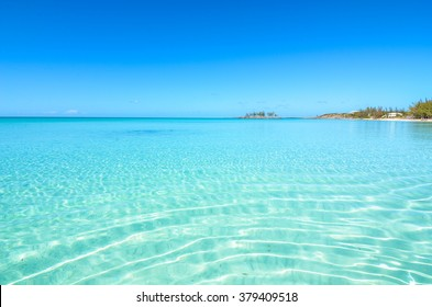 Paradise beach on Eleuthera (Bahamas) with crystal clear water.