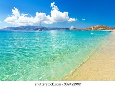 paradise beach on Naxos island in Greece, Cyclades
