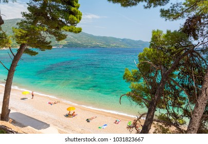 paradise beach in Orebic on Peljesac peninsula, Dalmatia, Croatia
