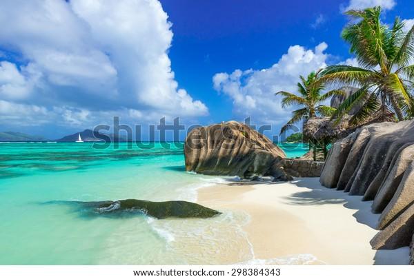 Paradies Strand der Seychellen - La Digue - Anse Source d'Argent