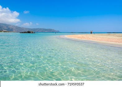 Paradise beach with turquoise water, in Elafonisi, Crete, Greece - Travel destination in Europe