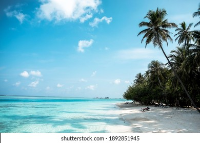 Paradise beach with white sand and  Clear water of the sea. Beach background.