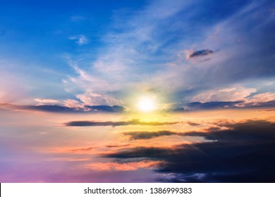Paradise heaven . Dramatic nature background . background sky at sunset and dawn .